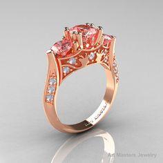 14K Rose Gold Three Stone Morganite Diamond by DesignMasters, $1499.00