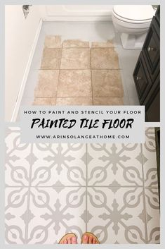 How to Paint Tile Floors arinsolangeathome Home Deco arinsolangeathome floors Paint painted floor tiles tile Brown Tile Floor, Diy Flooring, Painted Bathroom Floors, Tile Floor, Painting Bathroom, Flooring, Painting Tile Floors, Bathrooms Remodel, Tile Floor Diy