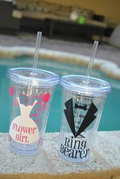 Personalized tumblers for the wedding party!