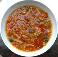 Vitamix: MINESTRONE SOUP: Ingredients- 2 cups Chicken Broth, 1 cup Tomatoes, 1tsp Garlic, 4baby Carrots, 1/8tsp Salt, 1tsp dry Basil, 1/2can Black Beans, drizzle EVOO, 1/2 an Onion, 1/2 a Zucchini, Cheese (opt)