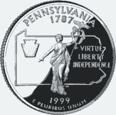 Collectible State Quarters - USA Facts for Kids. Mint created the 50 State Quarters Program to renew a national interest in coin collecting. Carlisle Pennsylvania, Usa Facts, State Mottos, Keystone State, State Quarters, Coin Shop, Quarter Dollar, United States Mint, Facts For Kids