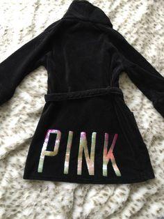 Victoria's Secret PINK Embellished Black Fleece Robe Women's Sz M/L* #VictoriasSecretPINK #Robes