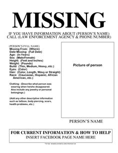 Missing Person Template Missing Persons  Missing Posters  Pinterest