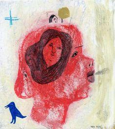 Illustration. Acrylic. Red. House. Face. Woman. Blue bird. Gold tree. Plus. Illustrator. Blue Bird, Illustration, Face, Red, Painting, Indian Illustration, Illustrations, Painting Art, The Face