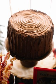 Wood Stump Cake from a Little Lumberjack Birthday Party via Kara's Party Ideas | The Place for All Things Party KarasPartyIdeas.com (29)