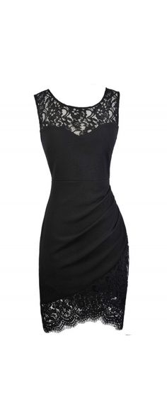 Lace Trim Pencil Dress with Crossover Hem in Black  www.lilyboutique.com