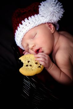 Baby Girl Newborn, Christmas, Baby's First Cookie Kelia Joy Photography