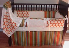Camden Baby Bedding This custom made baby crib bedding set includes the bumper, blanket, and crib skirt. Baby Boy Bedding Sets, Cute Bedding, Green Girl, Pink And Green, Brown Crib, Crib Skirts, Crazy Kids, Inspiration For Kids, Baby Crafts