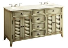 "Chans Furniture - 60"" Distress Beige Shutter Blinds Abbeville double sink bathroom sink vanity # CF-88324-60W"