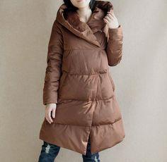 A-Line Down Coat Winter Down Jacket Hooded Down by liferollpaint