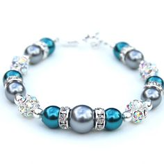 Dark Teal and Silver Gray Pearl Rhinestone Bracelet, Bridesmaid Jewelry, Wedding Party