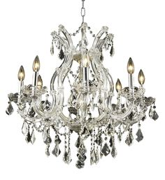 Elegant Lighting - 2800 Maria Theresa Collection Hanging Fixture D26in H26in Lt:8+1. Bring the beauty and passion of the Palace of Versailles into your home with this ageless classic. The Maria Theresa has been the gold standard for elegance and grace in the chandelier world for hundreds of years. The Maria Theresa has delicate glass arms draped with plentiful amounts of classic clear crystal or the wildly popular golden teak crystal and is guaranteed to make your home feel like a…