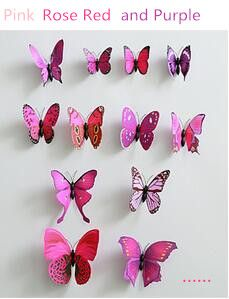 12 pcs/set DIY 3D Butterfly wall stickers home decor for living room,bedroom,kitchen,toilet,and Festive wedding decoration ws006