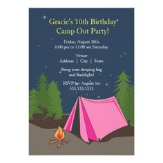 Camping Birthday Party | Girl Invite