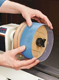 Turn your lathe into a double-duty machine with a standard sanding belt and this shop-made drum. Turn your lathe into a double-duty machine with a standard sanding belt and this shop-made drum. Woodworking Tools For Beginners, Awesome Woodworking Ideas, Woodworking Joints, Woodworking Techniques, Woodworking Furniture, Woodworking Projects, Woodworking Plans, Woodworking Organization, Lathe Projects