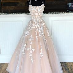 Spaghetti Straps Floor Length Prom Dress With Appliques, Long Evening Dress Lace. - - Spaghetti Straps Floor Length Prom Dress With Appliques, Long Evening Dress Lace Up Back Source by Pretty Prom Dresses, Hoco Dresses, Lace Evening Dresses, Prom Party Dresses, Party Gowns, Lace Dress, Tulle Lace, Elegant Dresses, Sexy Dresses