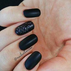 Matte black nails in oval shape  #nailartmuse