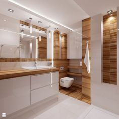 modernes Bad in Holz und Weiß – – – Rebel Without Applause Simple Bathroom Designs, Bathroom Design Luxury, Bathroom Layout, Modern Bathroom Design, Small Bathroom, Bad Inspiration, Bathroom Inspiration, Lavatory Design, Bad Styling