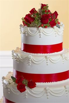 A simple sophisticated wedding cake.  It's PERFECT!