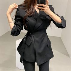 Autumn Turn-Down Collar Work Blazers Women Long Sleeve Sashes Suit Coat Notched Vintage Casual Solid Blazer Kpop Fashion Outfits, Edgy Outfits, Suit Fashion, Mode Outfits, Cute Casual Outfits, Men Casual, Korean Outfit Street Styles, Korean Outfits, Korean Girl Fashion