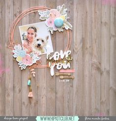 Simple Wreath Layout made with December 2016 Hip Kits | Flora Monika Farkas #hipkitclub #pinkpaislee #pptakemeaway
