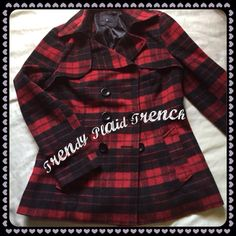 Red and Black Trench Red and Black Trench- the perfect plaid trend for cool days. Jackets & Coats