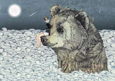 bear.  girl.  art.  illustration.  moon.  water.  ocean.  fantasy.  fiction.  animal.  nectar.  love.
