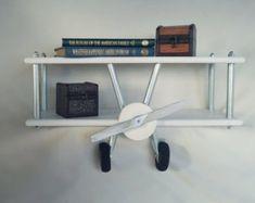 Medium White Airplane Shelf, Airplane Decor, White Airplane, Custom Airplane, Biplane Shelf, Boys room