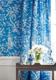 blue & white with Chinoiserie wallpaper and drapery