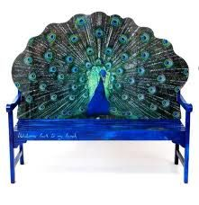 Something for the garden with this peacock feather bench Peacock Room, Peacock Decor, Peacock Colors, Peacock Theme, Peacock Design, Peacock Bedding, Peacock Feathers, Peacock Artwork, Peacock Purse