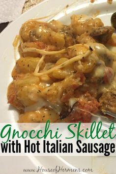 Deliciously cheesy with just the right amount of spices, this Gnocchi Skillet… Pork Recipes, Pasta Recipes, Crockpot Recipes, Cooking Recipes, Skillet Recipes, Sausage Recipes, Recipies, Pasta Dishes, Food Dishes