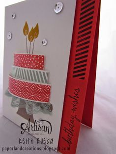 PAPERLAND CREATIONS: ARTISAN BLOG HOP BUILD A BIRTHDAY Stamp Set from new catalog (June 2 2015 release date.)  I'm not sure if I like the stamp set but she did a great job making it dimensional with the cute lace trim on the edge.What icing looks like this, honestly?