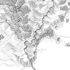 """#mapmaking #fantasymap Hier zeichne ich einen Detailausschnitt aus der Karte der Othersides-Welt. Er zeigt eine Stelle, an der drei Länder aufeinandertreffen: Jawhara und Laguna Mar im Süden und Agambea im Norden. Diese Zeichung hat es auf die Titelseite der Illustrierten Ausgabe von """"Othersides: Zwei Welten"""" geschafft. *Werbung* 📖 Die gibt es zum Beispiel hier: Fantasy Map Making, Make Time, Maps, Fantasy Map, Advertising, World, Cards, Blue Prints, Map"""