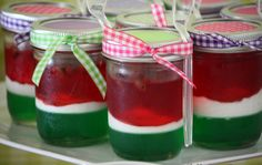 picnic party jello and whipped cream in a jar Watermelon Jello, Watermelon Birthday Parties, Fruit Party, Baby Food Jar Crafts, Baby Food Jars, Mason Jar Desserts, Mason Jars, Recipe Cup, Picnic Birthday