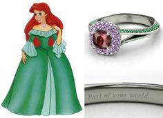 Rubi, ametistas e esmeraldas foram usadas para criar a versão de Ariel. Lindíssimo!