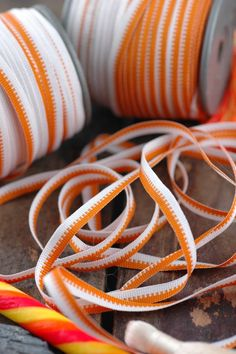 "Creamsicle Stripe Orange, White Grosgrain Skinny Ribbon, 1/4"" x 54 yards, Fall Craft, Jewelry Making Supply, Soft Supple Bright"