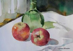 Watercolor by Osamu: Still-Life with a Green Bottle