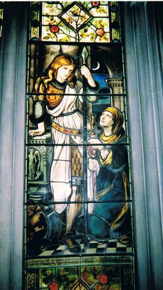 """babesinarmor: """" Photo by S.W. Thomson of a stained glass window at Cheltenham Ladies' College. Window designed by Frederic Shields, ca. 1880. Inscription, from Spenser's The Faerie Queen: """" In..."""