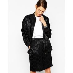 ASOS Bomber Jacket in Polka Dot Jacquard (48 CAD) ❤ liked on Polyvore featuring outerwear, jackets, black, flight jacket, asos jackets, asos, bomber jacket and black bomber jacket