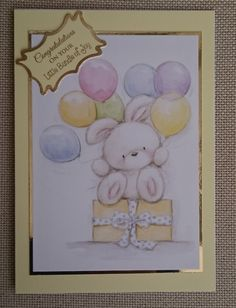 Handmade 5 x 7 Greeting Card New Baby by BavsCrafts on Etsy Kids Cards, Baby Cards, Kids Birthday Cards, Cellophane Bags, Greeting Cards Handmade, New Baby Products, Birthdays, Card Making, Crafting