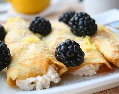 Coconut Flour Crepes with Lemon Ricotta and Blackberries (Low Carb and Gluten Free) | All Day I Dream About Food | these are amazing and the best thing ever. I will make these all the time! And easy to double for 1-2 more ppl. I made a different filling with blueberries and cottage cheese.