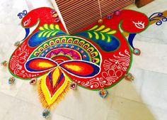 She's a true imaginative! Rangoli Ideas, Rangoli Designs Diwali, Diwali Rangoli, Simple Rangoli, Rangoli Border Designs, Beautiful Rangoli Designs, Rangoli Borders, Diwali Craft, Festival Decorations