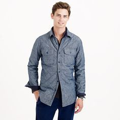 broadmoor quilted jacket in japanese chambray -
