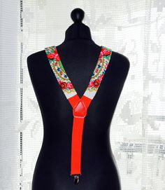 Red Floral Womens Suspenders Women Pavlovo Braces by YesADress
