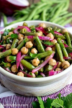 Chick Pea and Green Bean Salad - A simple, flavorful salad made with fresh garden green beans. Bean Salad Recipes, Green Bean Recipes, Chickpea Recipes, Chicken Salad Recipes, Pasta Recipes, Dinner Recipes For Kids, Healthy Dinner Recipes, Vegetarian Recipes, Green Bean Salads