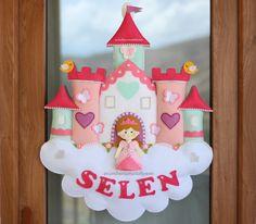 kız bebek odası kapı süsü, prenses kapı süsü, selen bebek