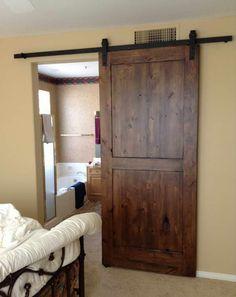 Track Barn Door Hardware With Beige Walls