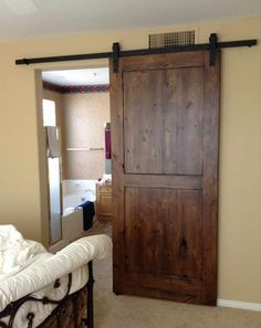 Track Barn Door Hardware With Beige Walls