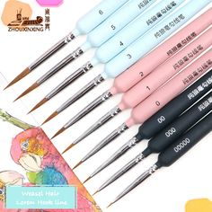 rictons - 10 piece type Hook line pen watercolor soft hair oil painting extra fine hair Pen And Watercolor, Watercolor Brushes, Paint Brushes, Watercolor Paintings, Cool Stationary, Best Pictures Ever, Facebook Brand, Guache, Soft Hair