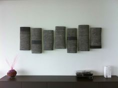 Petra Bittl, installation in a private house,black clay and porcelain inlays